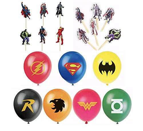 Justice League Superhero Emblem 7 Count Party Balloon Pack - Large 12