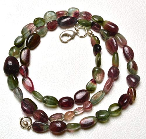 GemAbyss Beads Gemstone 1 Strand Natural 16 inch AAA Super Finest Natural Rare Bi Color Tourmaline Multi Color Smooth Nuggets Necklace 4 to 11 MM Code-MVG-29627 ()