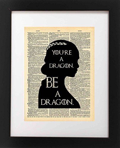 Dragon Art Prints - Game of Thrones Art - Khaleesi Dragon Quote - Vintage Dictionary Print 8x10 inch Home Vintage Art Abstract Prints Wall Art for Home Decor Wall Decorations Office Ready-to-Frame Dragon