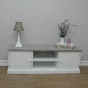 Tv Tisch Roma1 Handgemacht Vintage Stil Möbel Weiß Kiefer