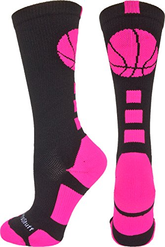 MadSportsStuff Basketball Logo Athletic Crew Socks, Large - Black/Neon Pink