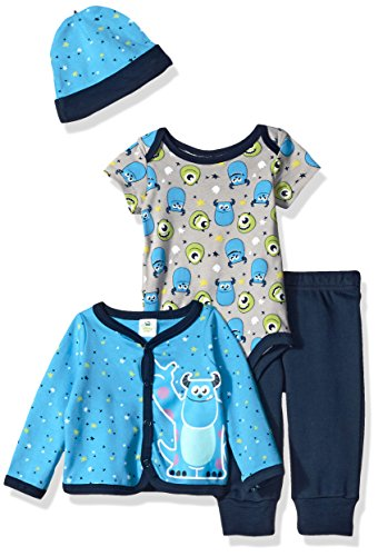 Disney Baby Boys' 4-Piece Monsters Inc. Cardigan Set with Bodysuit, Blue, 6/9 Months (Monster Inc Baby Monsters compare prices)