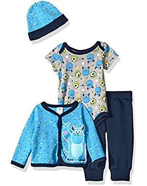 Disney Baby Boys' 4-Piece Monsters Inc. Cardigan Set with Bodysuit, Pant, and Hat