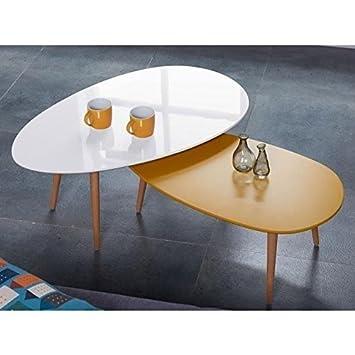 Générique Stone01 Table Basse Style scandinave en MDF laqué Jaune ...
