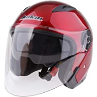 MagiDeal 3/4 Open Face Classic with Sun Visor Motorcycle Scooter Helmet M/L/XL/XXL - Red XL