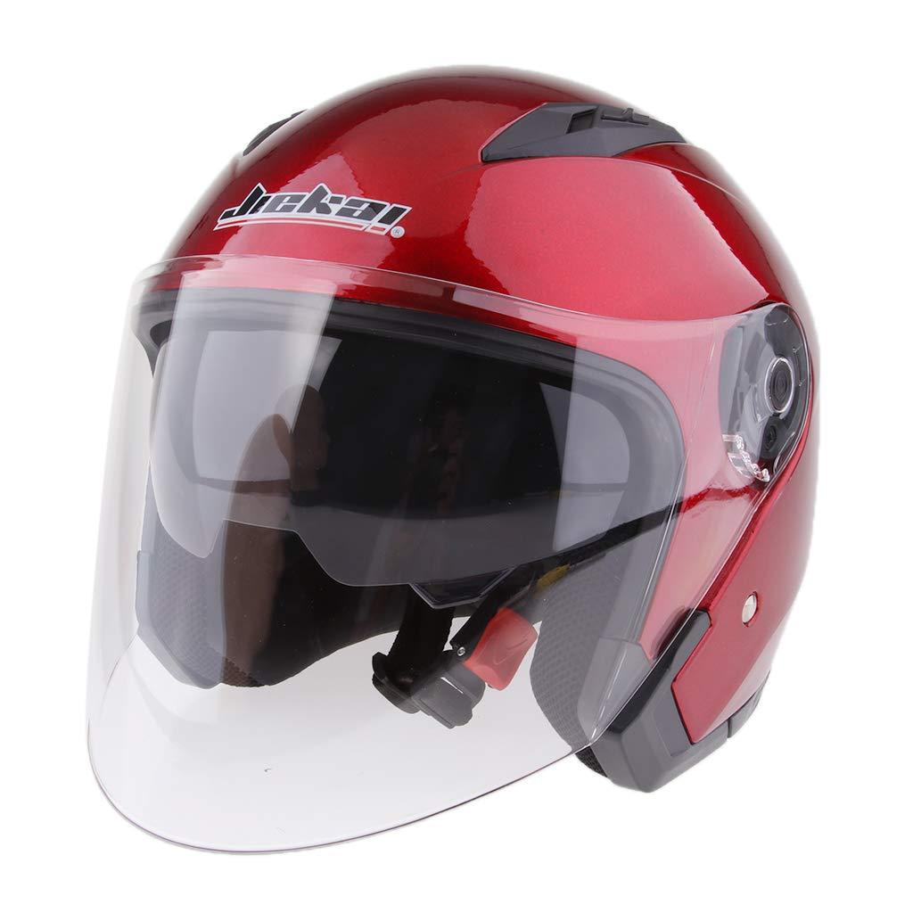 Baoblaze Dual Visors Motorcycle 3//4 Open Face Half Helmet Full Shield Visor Helmets Glossy Black XXL