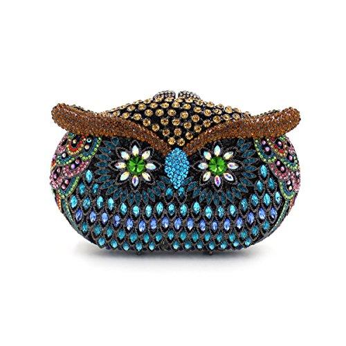 Rhinestone de lujo Bolsa de noche animal favorito Mujer Bolso Boda monedero del embrague bastidor metálico Blue