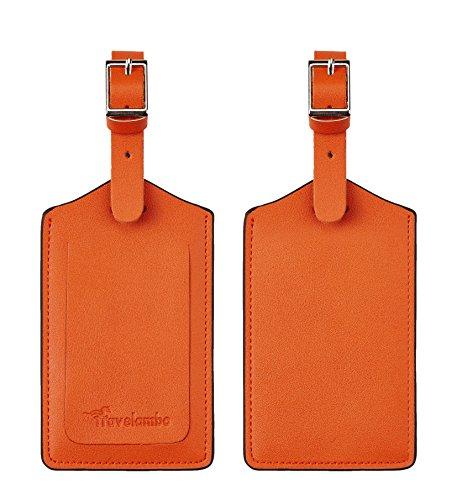 Travelambo Leather Luggage Bag Tags (Orange 3243 Hot -