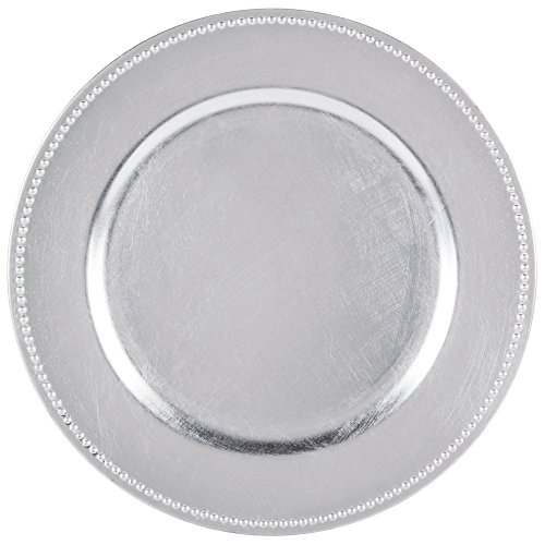 SPRINGROSE 25 Silver Charger Plates | Buy in Bulk | The Perfect Decoration for Your Tables | Perfect for Weddings, Party, Banquets, Anniversary Dinners, Christmas, Barbeques, Bridal Showers