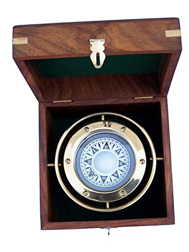 Hampton Nautical 3xglass-101 Antique Brass Gimbal Compass w/Rosewood Box 5