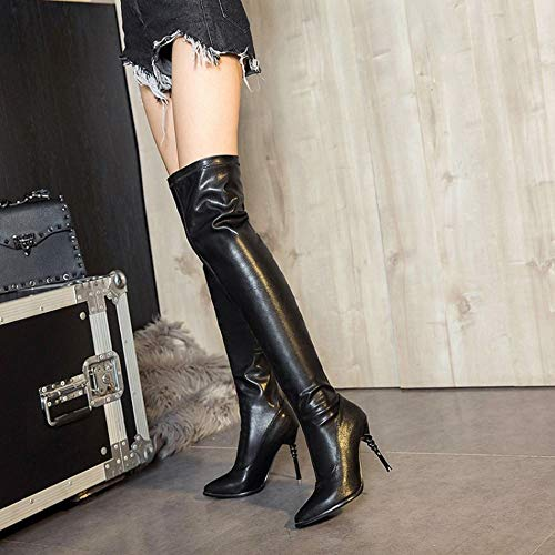 Coolcept The Over 15 Boots Pull Knee On Heel Black Women Fashion High BqwXB6r