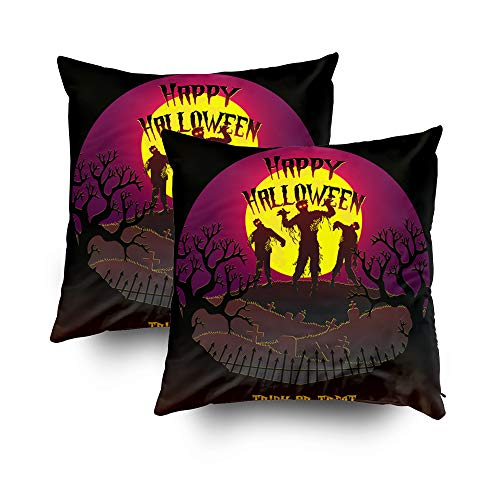 GROOTEY Large Throw Pillow Covers, Square Pillow Covers with Zip Couch Sofa Décor Happy Halloween Zombie Vector 18X18 Set of 2 Throw Cushion]()