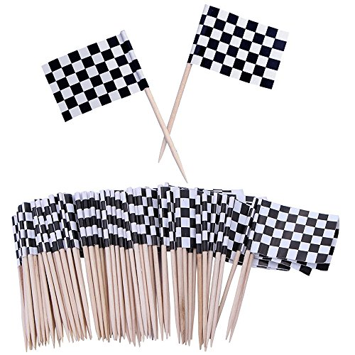 Checkered Racing Flag Cupcake Cake Toppers Picks Party Decorations Supplies, 100 Counts by Bilipala ()