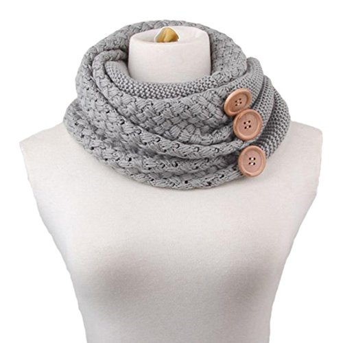 [BeautyVan, Winter Warm Cable Knit Cowl Neck Scarf (Grey)] (Plaid Cowl Neck)