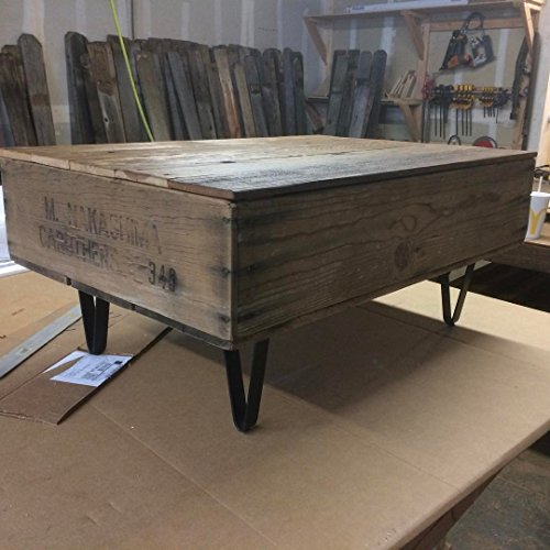 Reclaimed Fruit Crate Coffee Table with Metal Legs and Hinged Blanket Storage - Approx. 38