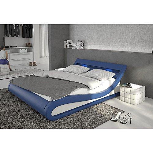Polster-Bett 140x200 cm blau aus Kunstleder mit blauer LED-Beleuchtung | Bellugia | Das Kunst-Leder-Bett ist ein edles Designer-Bett | Doppel-Bett 140 cm x 200 cm mit Lattenrost in Leder-Optik, Made in EU