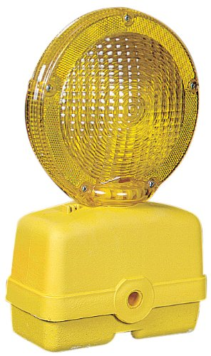 Mutual 17739 Traffic Barricade Flasher with 7'' Polycarbonate Fresnel Lens, Yellow