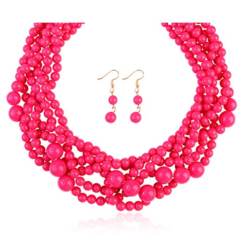 RIAH FASHION Braided Chunky Cluster Bead Bubble Statement Necklace - Multi Strand Twisted Colorful Twisted Ball Hammock Bib Collar (Twisted Bauble - Hot Pink)