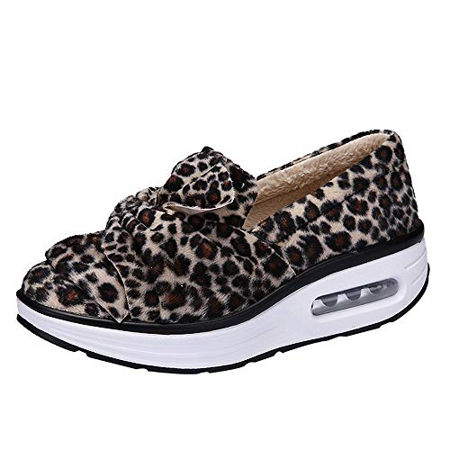 9fc393bd84083a Teresamoon Increased Net Shoe Women Casual Shoes Leopard Print Thick  Platform