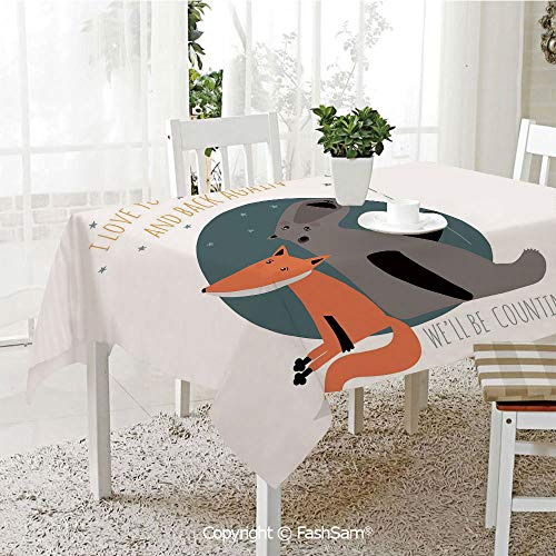 AmaUncle Premium Waterproof Table Cover Bear and Fox in Love Counting Stars at Night Animal Birthday Print Decorative Kitchen Rectangular Table Cover (W60 xL104)