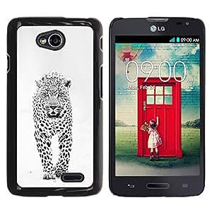 YOYOYO Smartphone Protección Defender Duro Negro Funda Imagen Diseño Carcasa Tapa Case Skin Cover Para LG Optimus L70 LS620 D325 MS323 - invierno leopardo de las nieves manchas blancas negras