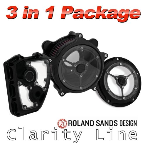 - Roland Sands Design Clarity Air Cleaner with Derby and Cam Cover Package - Black Ops For 1999 to Present Harley Davidson Twin Cam