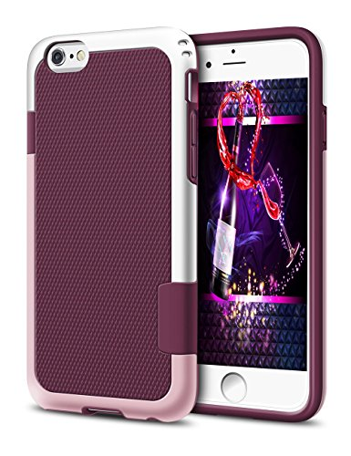 iPhone 6 Case 4.7, iPhone 6 Cases Hard Cover Shell TPU Rubber Ultra Slim Thin Bumper Covers Apple iPhone 6S Case Protective Design Hybrid Defender Heavy Duty Shockproof Impact Protection (Wine Red)