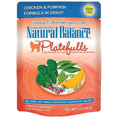 Natural Balance Platefulls Chicken & Pumpkin Formula in Gravy Grain-Free Cat Food Pouches, 3-oz pouch, case of 24