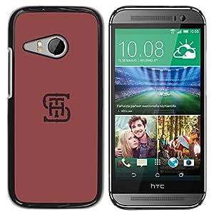 YOYOYO ( NO PARA HTC ONE M8 ) Smartphone Protección Defender Duro Negro Funda Imagen Diseño Carcasa Tapa Case Skin Cover Para HTC ONE MINI 2 M8 MINI - Letras iniciales SHT minimalista color rojo granate