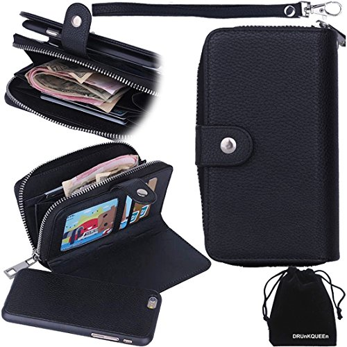 DRUnKQUEEn iPhone 6s Case, iPhone 6 Case, Premium Zipper Wallet Leather Detachable Magnetic Case Purse Clutch Removable Case with Black Flip Credit Card Holder Cover for iPhone6 iPhone6s