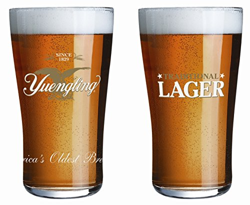 Lager Pint Glass (Yuengling Traditional Lager Pint Glasses - Set of 2 Tumblers)