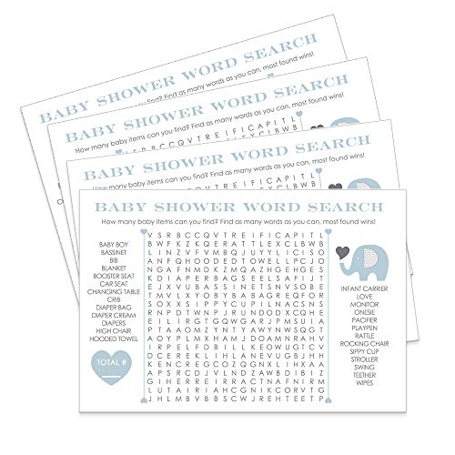 Blue Elephant Baby Shower Games Word Search Set of 25 -