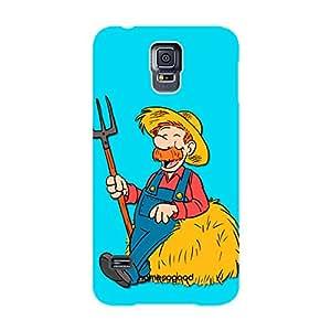 HomeSoGood Farmer Profession Blue 3D Mobile Case For Samsung S5 ( Back Cover)