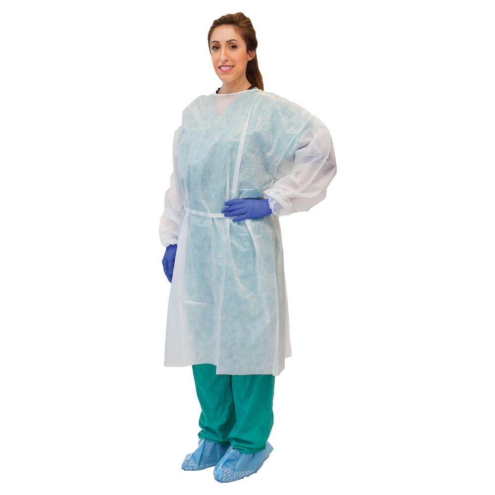 MediChoice Fluid Resistant Gowns, Full Back, Elastic Cuff, Tie Neck And Waist, PSBPE, Universal, White (Bag of 10)