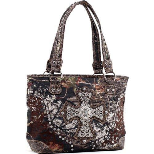 Mossy Oak Studded Cross Winged Tote Shoulder Bag Handbag with Adjustable Removable Shoulder Strap (Brown Camouflage/Coffee Trim)