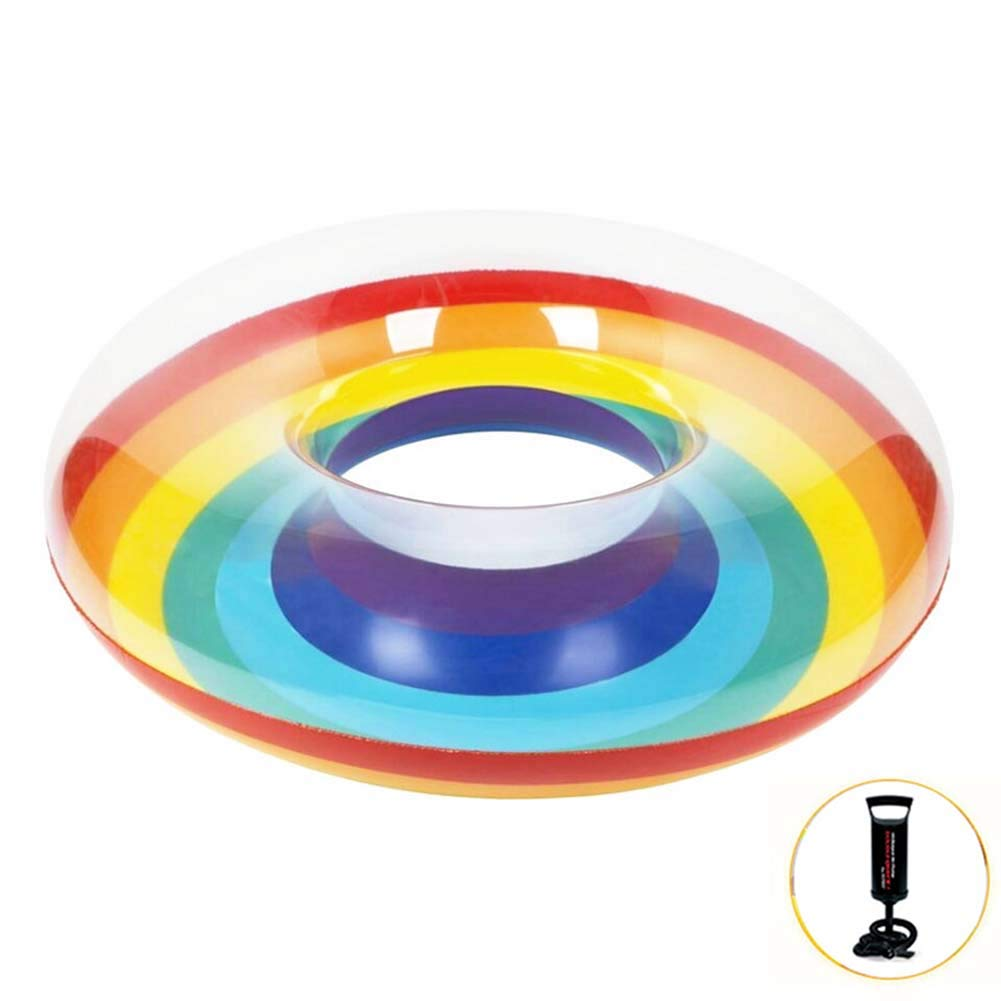 Rainbow Swim Ring Whirl Tube Color Pool Float Inflatable Rubber Inner Tubes Water Donut Rafts Foam Toy for Adults Kids Summer Outdoor Beach Playing Decoration