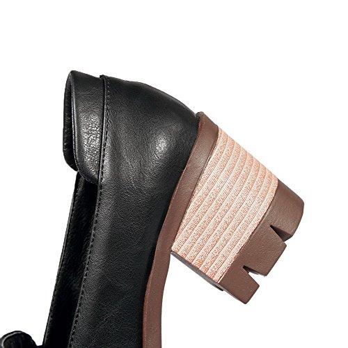 AgooLar Femme Tire Semelle Antidérapage Rond Chaussures Légeres Noir 0MIpxTG