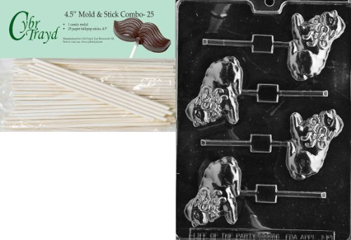Cybrtrayd Lamb with Bow Lolly Easter Chocolate Candy Mold with 25 4.5-Inch Lollipop Sticks