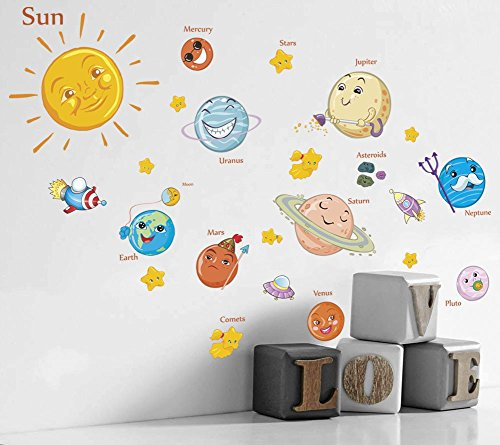 - Filly Wink Kids Educational Space Wall Decals Wall Stickers Peel and Stick Removable Solar System Planets & Stars Wall Art Sticker Decor for Boys Girls Nursery Bedroom Living Room Playroom Classroom