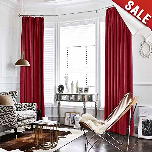 Velvet Curtain Burgundy Living Room Rod Pocket Window Curtain Panel 84 inch Long Bedroom Thermal 1 Panel (Velour Curtains Red)
