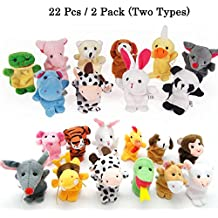 22pcs Plush Animals Finger Puppets - Sealive Story Time Mini Animals Assortment For Kids Family Members, Funny Hands Finger Puppets Game For Autistic Children, Great Novelty Educational Toys Set