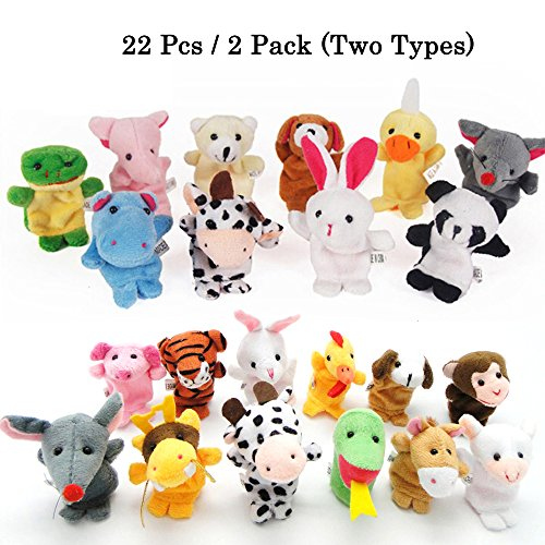 Hand Puppet Childrens Toy (22pcs Plush Animals Finger Puppets - Sealive Story Time Mini Animals Assortment For Kids Family Members, Funny Hands Finger Puppets Game For Autistic Children, Great Novelty Educational Toys Set)