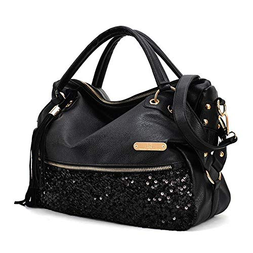 Segater Women's Leopard Print Black Purse Handbag Hobo Style Sequin PU Leather Shoulder - Sequin Purse Hobo