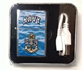 Navy USB Powered Pocket Lighter Flip-Top Metal Chrome United States US Military
