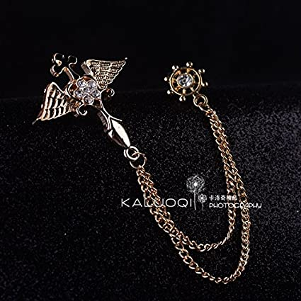 724db6afd758 Image Unavailable. Image not available for. Color: Korea fringed crystal  brooch anchor chain angel wings brooch pin badge pin collar men's suits