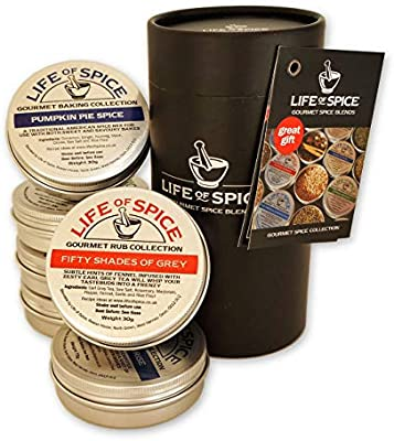 Life of Spice Six Tin Gift Set - Spice Rubs, Salts, Herbs and Baking Spices Gifts: Amazon.co.uk: Grocery