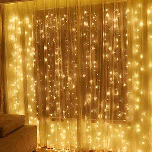 304 LED Window Curtain String Light, 9.8ft x 9.8ft, 8 Modes Setting for Wedding Christmas Girls Bedroom Outdoor Indoor Wall Decoration Party Home Garden Warm White