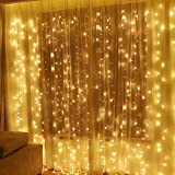 MODOAO 304 LED Window Curtain String Light, 9.8ft x 9.8ft, 8 Modes Setting for Wedding Christmas Girls Bedroom Outdoor Indoor Wall Decoration Party Home Garden (Warm White)