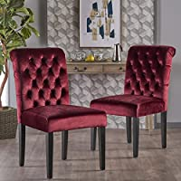 Dinlert Tufted Garnet Velvet Dining Chair with Roll Top (Set of 2)