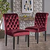 Cheap Dinlert Tufted Garnet Velvet Dining Chair with Roll Top (Set of 2)